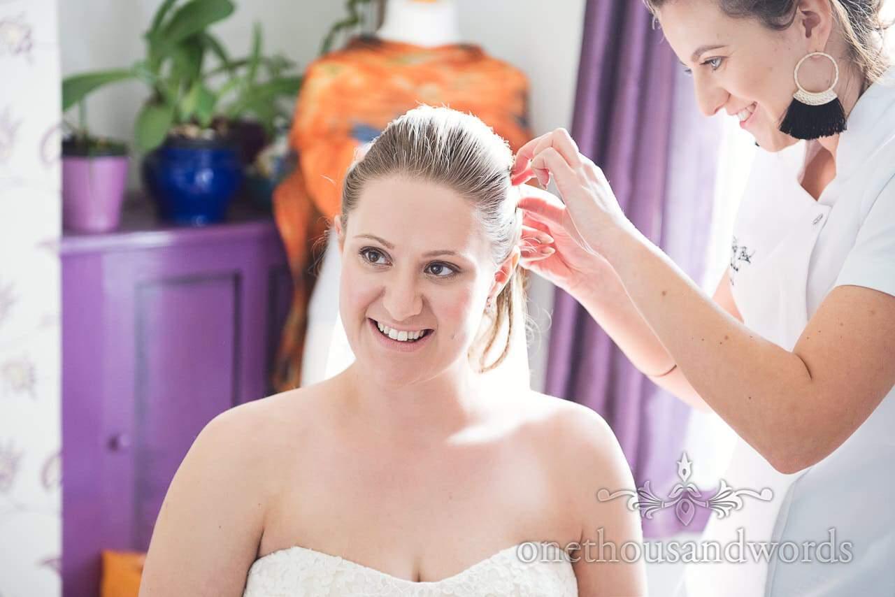Smiling bride on morning of Tithe Barn Symondsbury Wedding