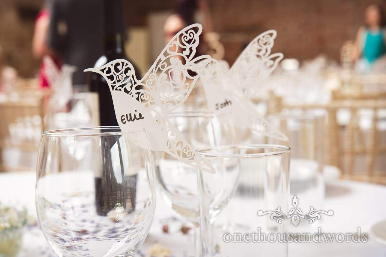 Table placenames detail from for Tithe Barn Symondsbury Wedding