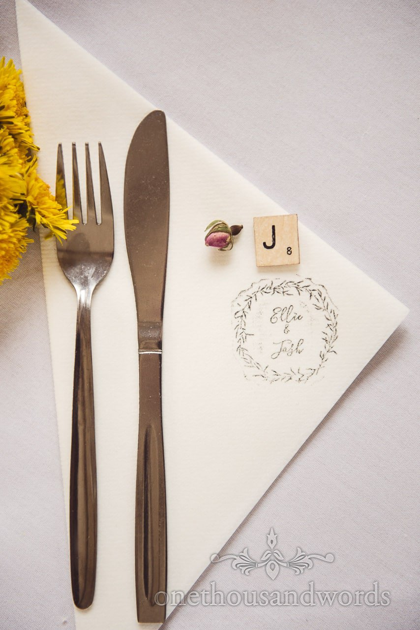 Table setting details from the Tithe Barn Symondsbury Wedding