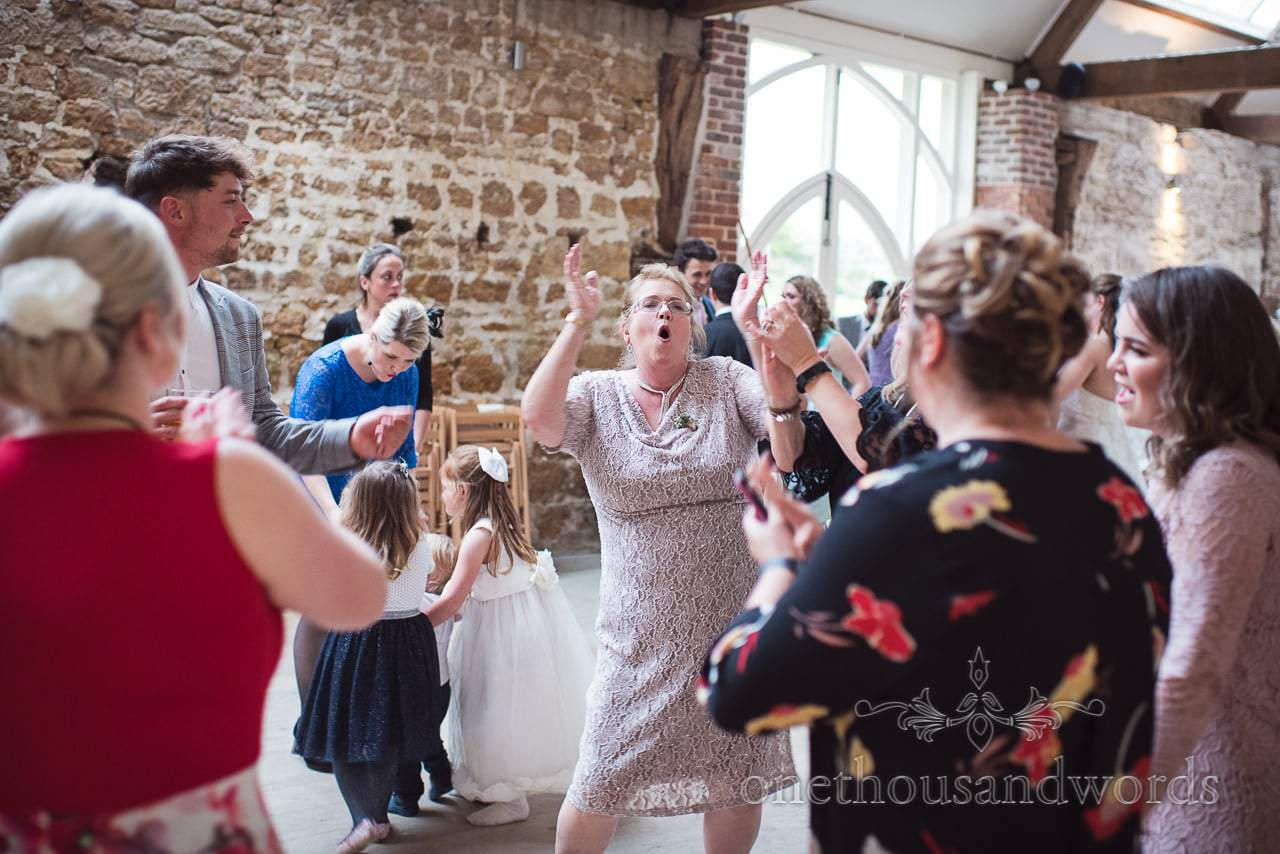 The dance floor packed during Tithe Barn Symondsbury Wedding