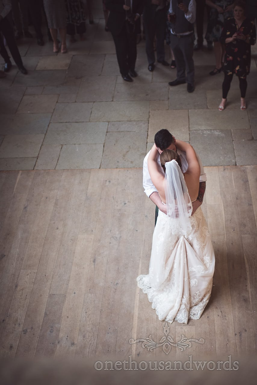 The first dance from above at the Tithe Barn Symondsbury Wedding