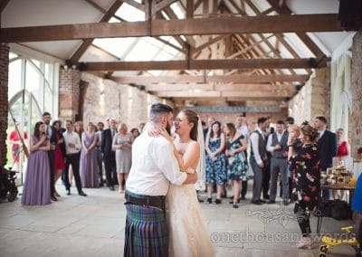 The newlyweds during their first dance at the Tithe Barn Symondsbury Wedding