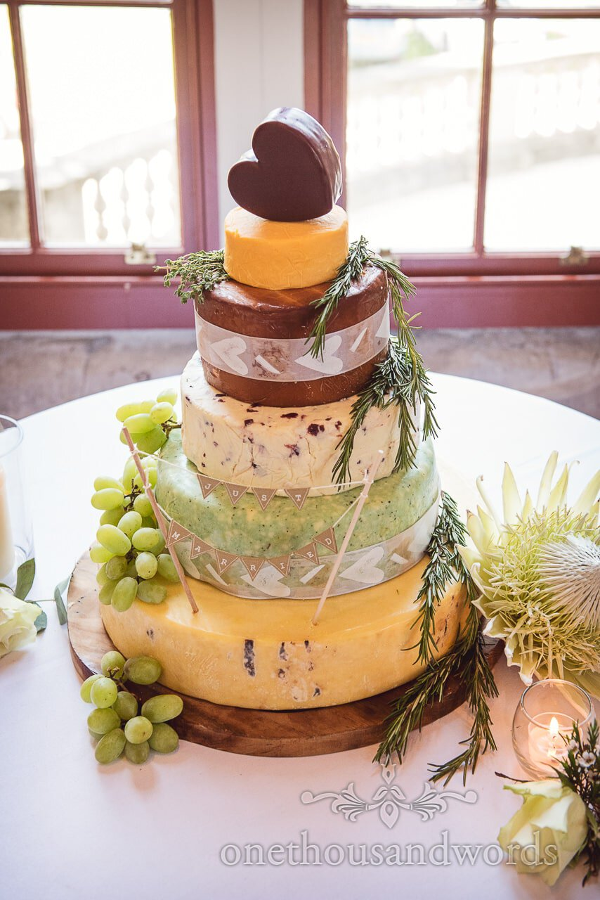Tower of cheeses cheese cake with love heart cheese with just married bunting