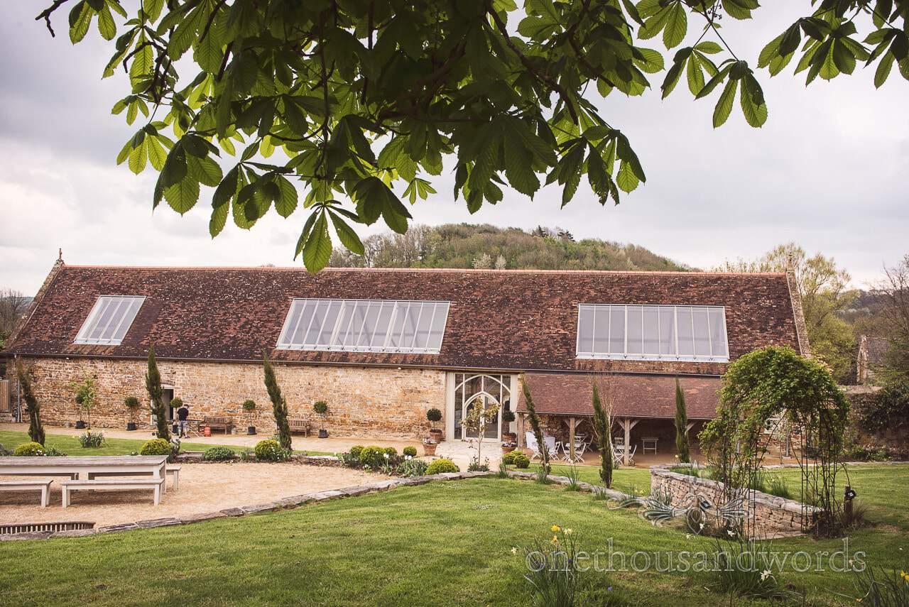 View from gardens of Tithe Barn Symondsbury Wedding