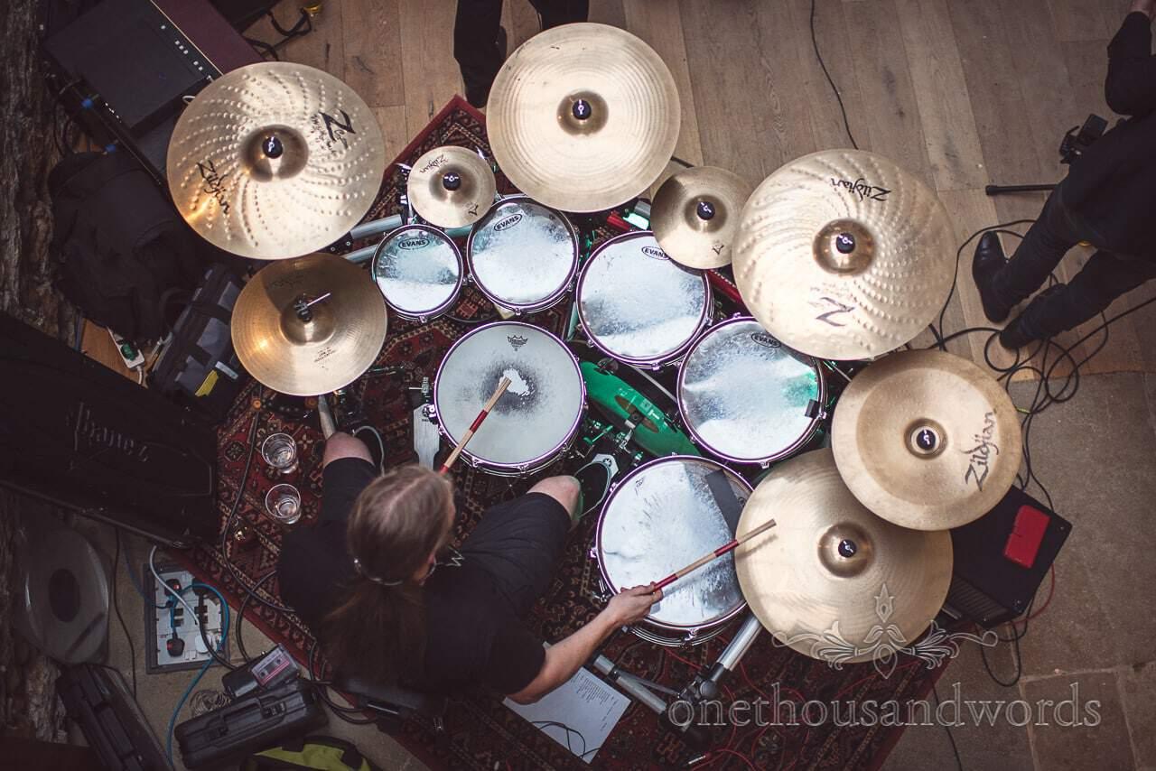 Wedding band drum kit from above during Tithe Barn Symondsbury Wedding