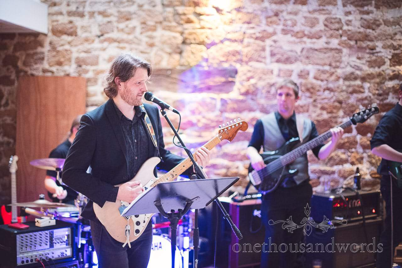 Wedding band play during Tithe Barn Symondsbury Wedding