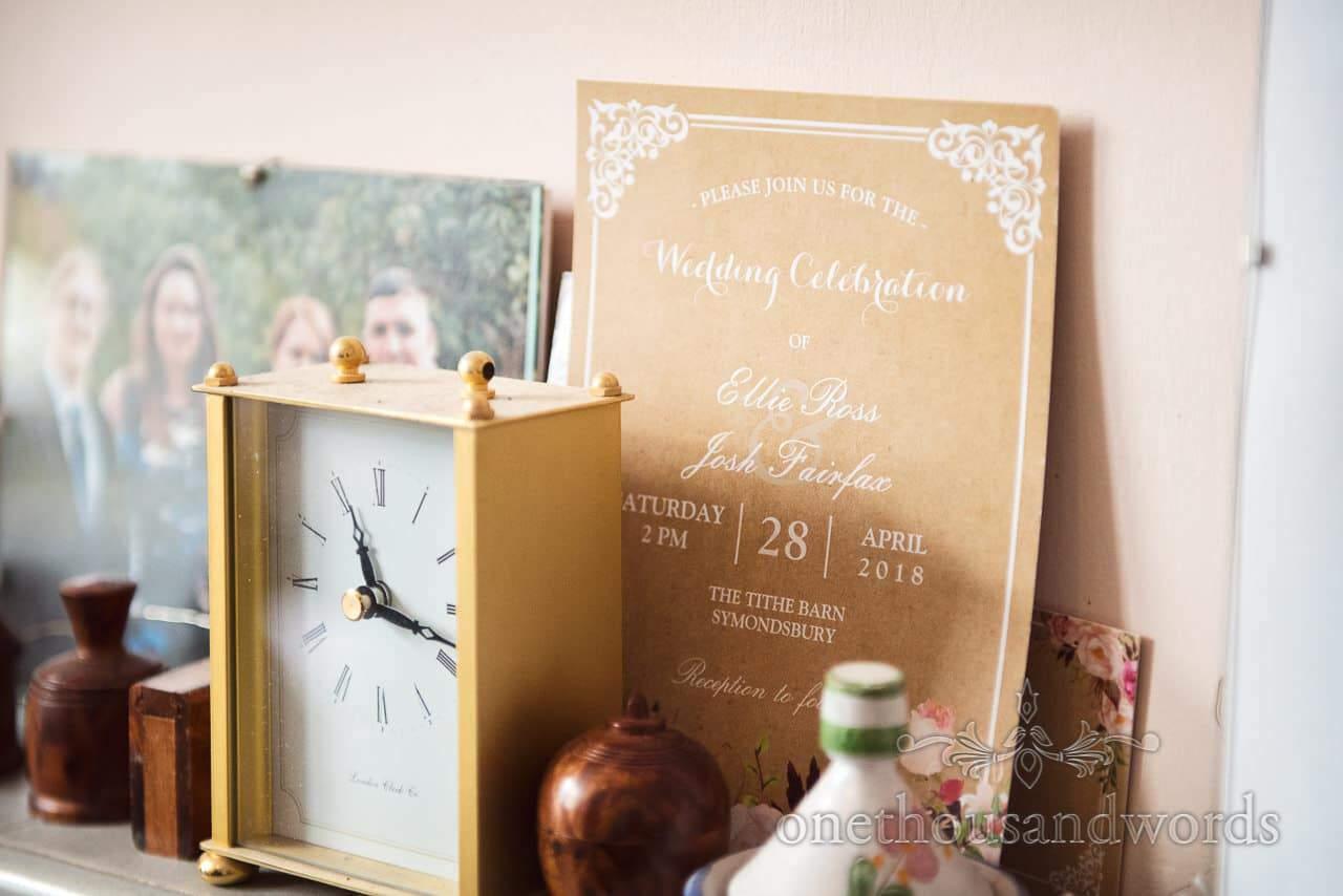 Wedding invitation from Tithe Barn Symondsbury Wedding