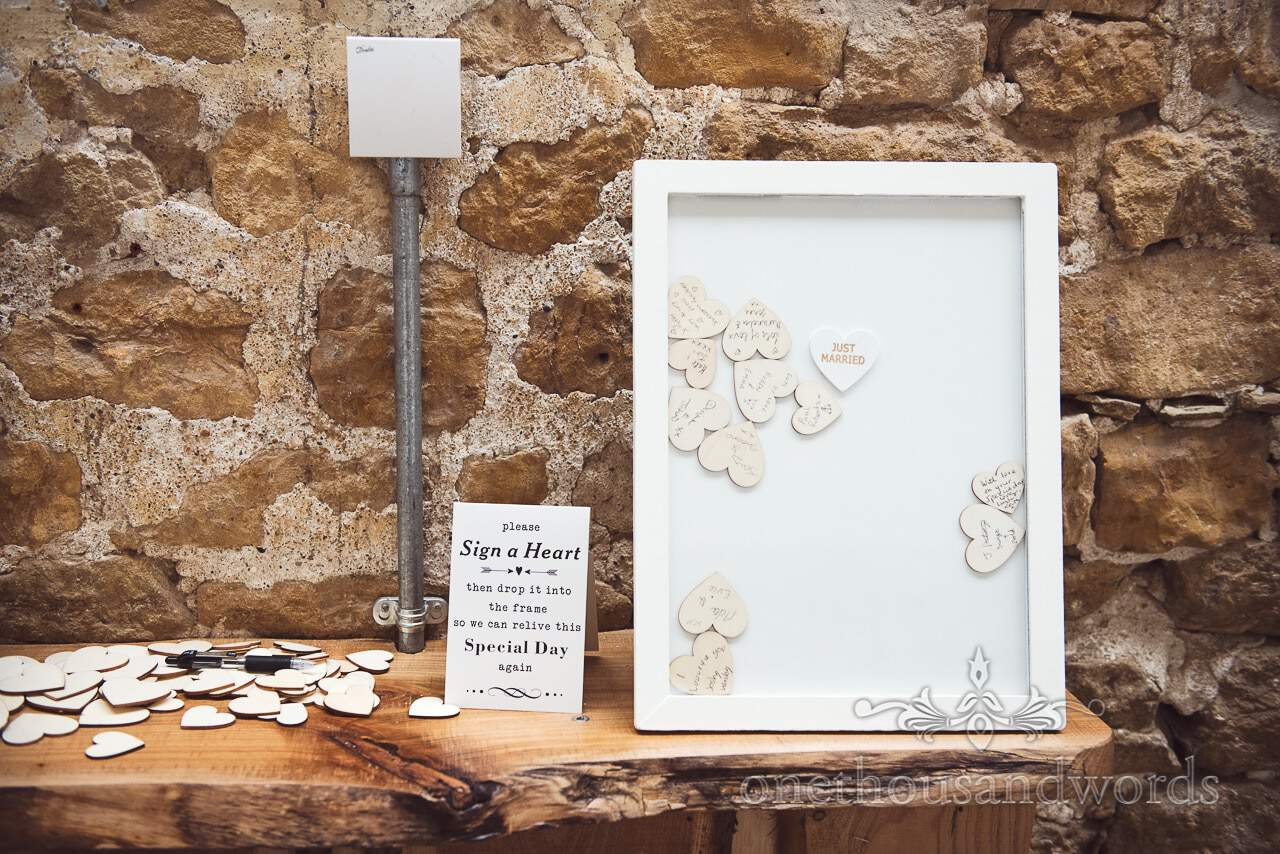 Wooden heart message frame from Tithe Barn Symondsbury Wedding