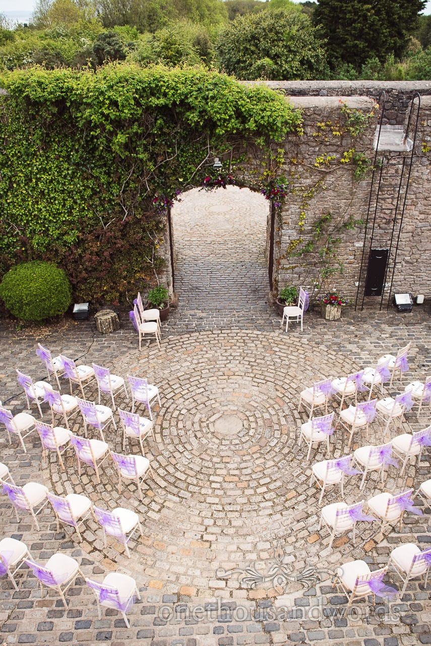 Ariel view of ceremony courtyard for Chocolate Themed Wedding Photographs
