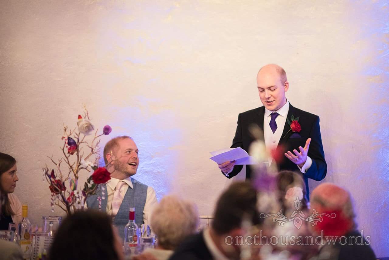 Best man's speech at Walton Castle wedding breakfast chocolate themed wedding