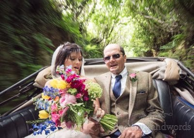 Bride and father on route to church from Countryside Wedding Photos