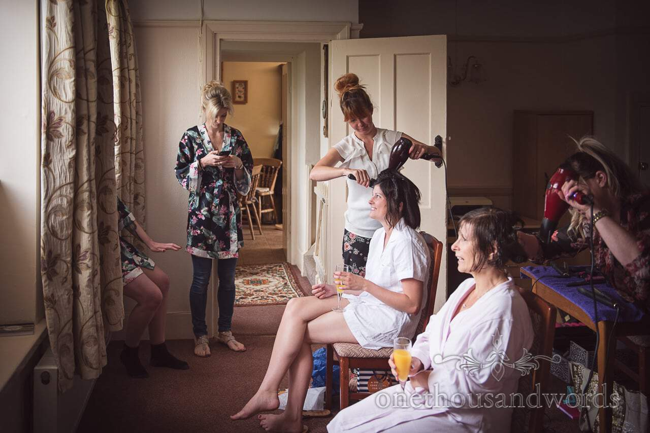 Bride and mother have hair styled on morning of Countryside Wedding Photos