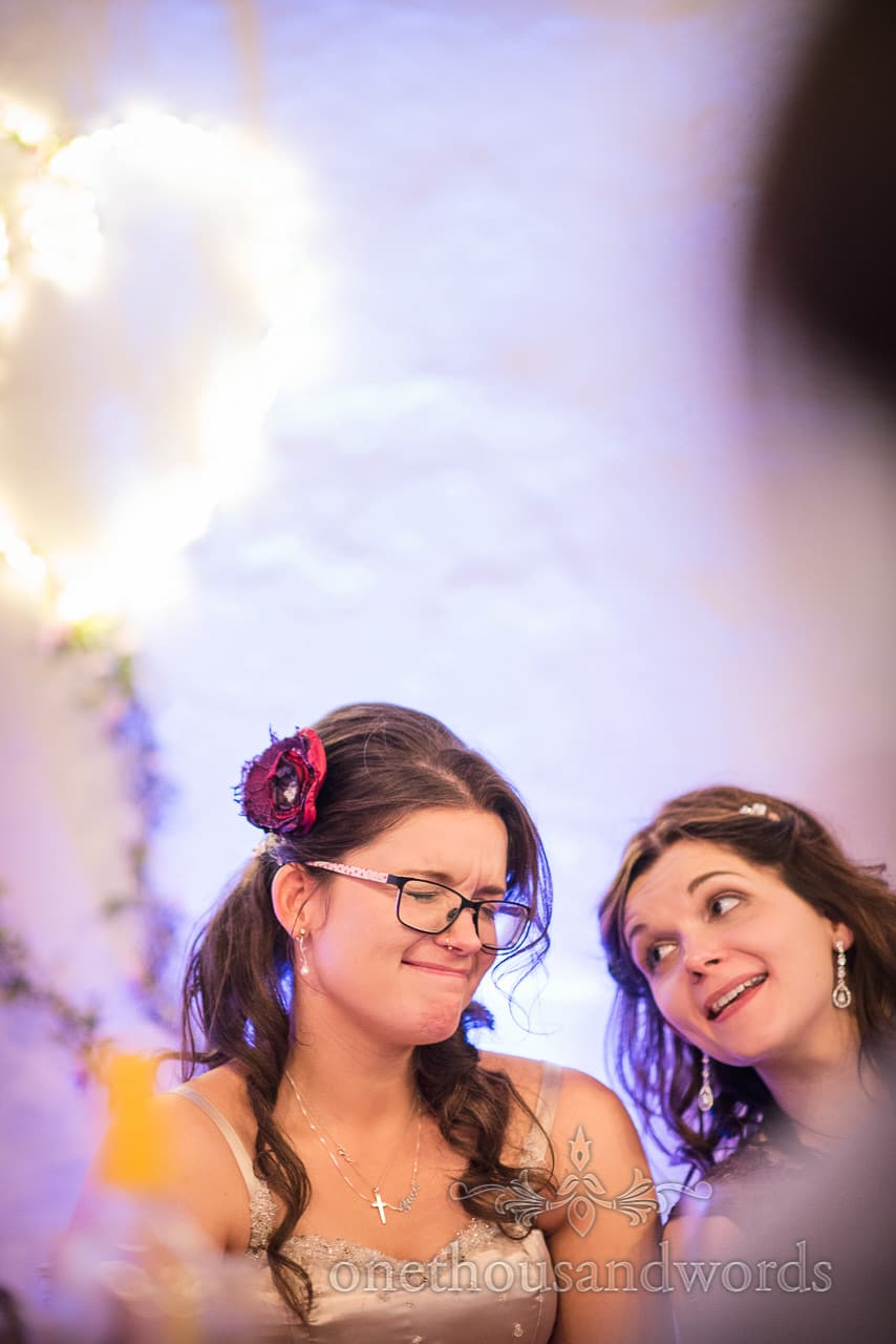 Bride cringes and sister laughs at Walton Castle wedding speeches