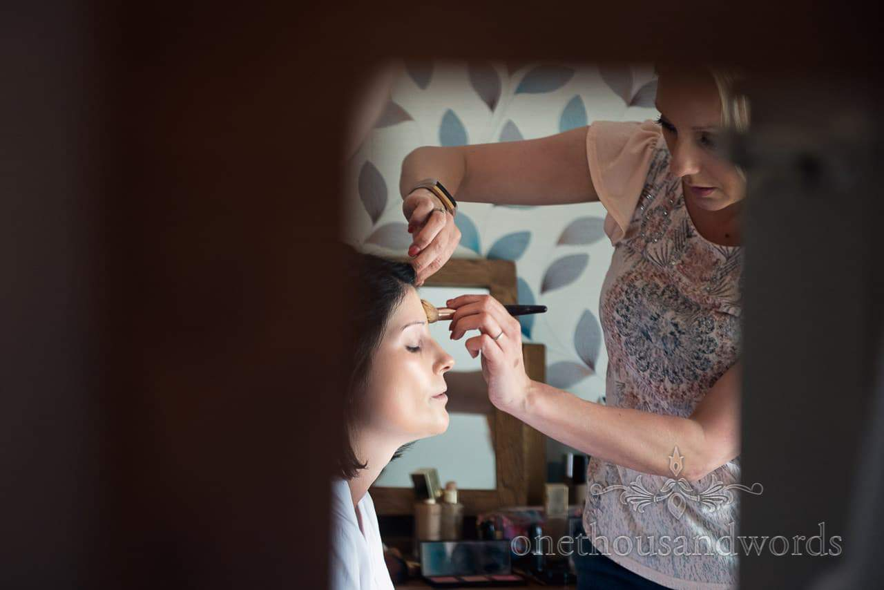 Bride has make up styled on morning of Countryside Wedding Photos