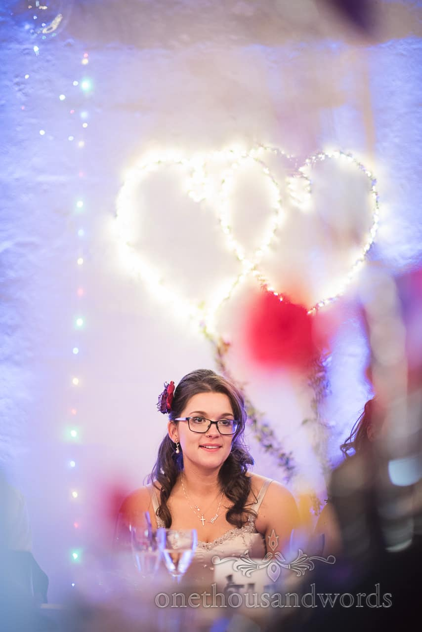 Bride portrait during speeches at Chocolate Themed Wedding Photographs