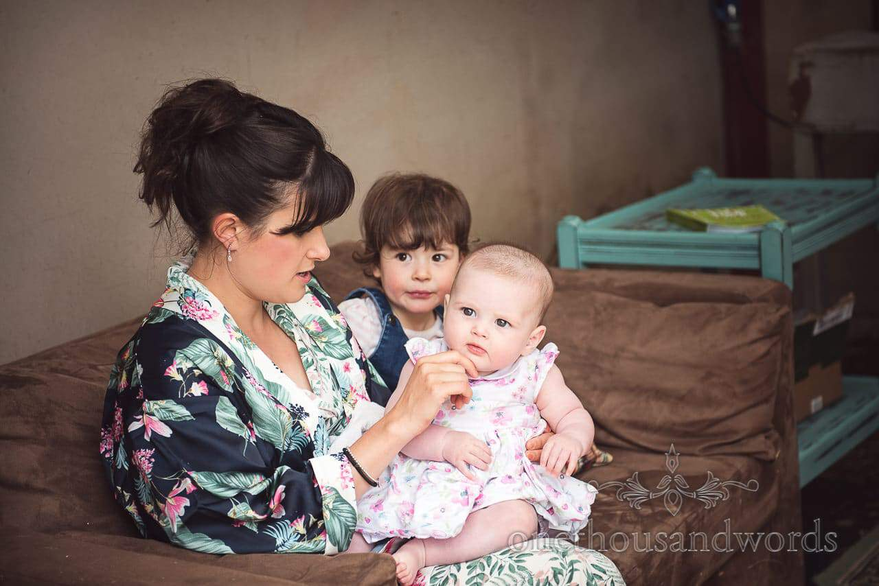 Bridesmaid sister with children from morning of Countryside Wedding Photos