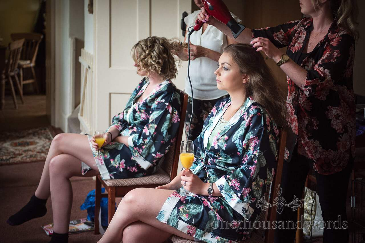 Bridesmaids have hair styled on morning of Countryside Wedding Photos