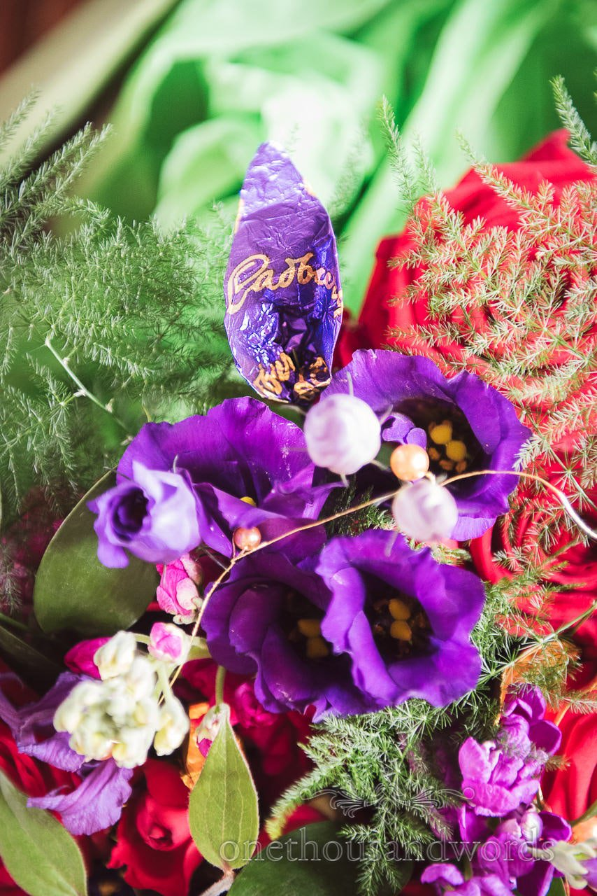 Cadbury wrapper leaf in Chocolate Themed Wedding bouquet Photographs