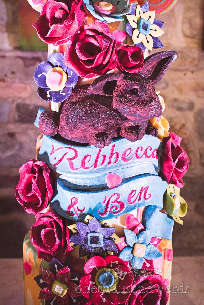 choccywoccydoodah wedding cake with rabbit, roses and love hearts