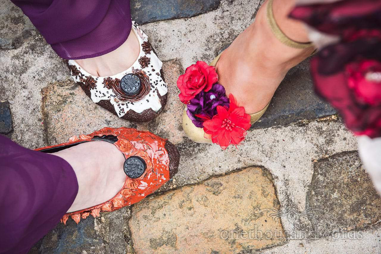 Chocolate cake wedding shoes with floral shoe at Chocolate Themed Wedding