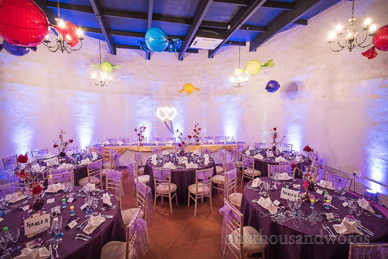 Chocolate Themed Wedding breakfast set up at Walton Castle wedding venue