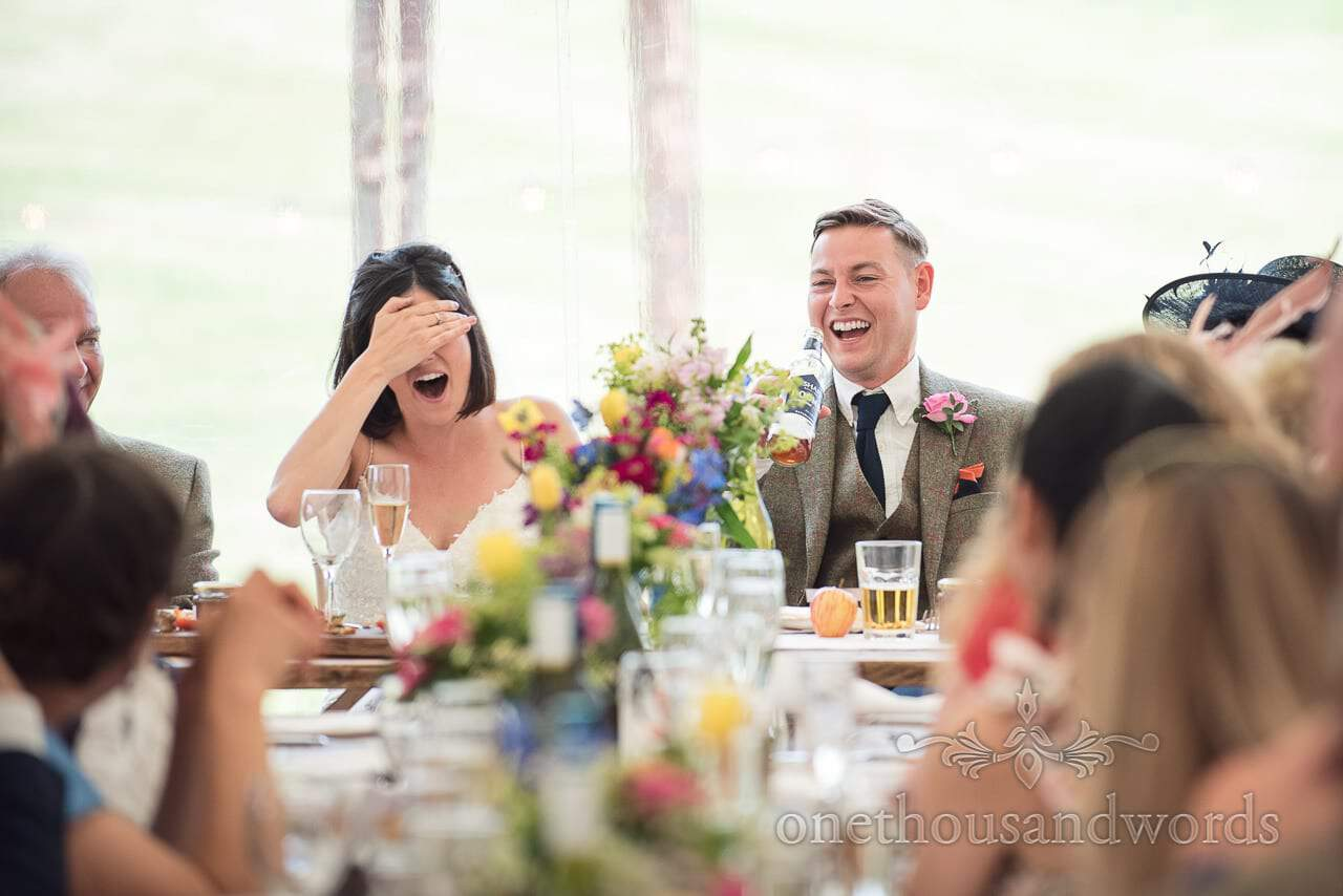 Countryside Wedding Photos of bride and groom reaction to speeches
