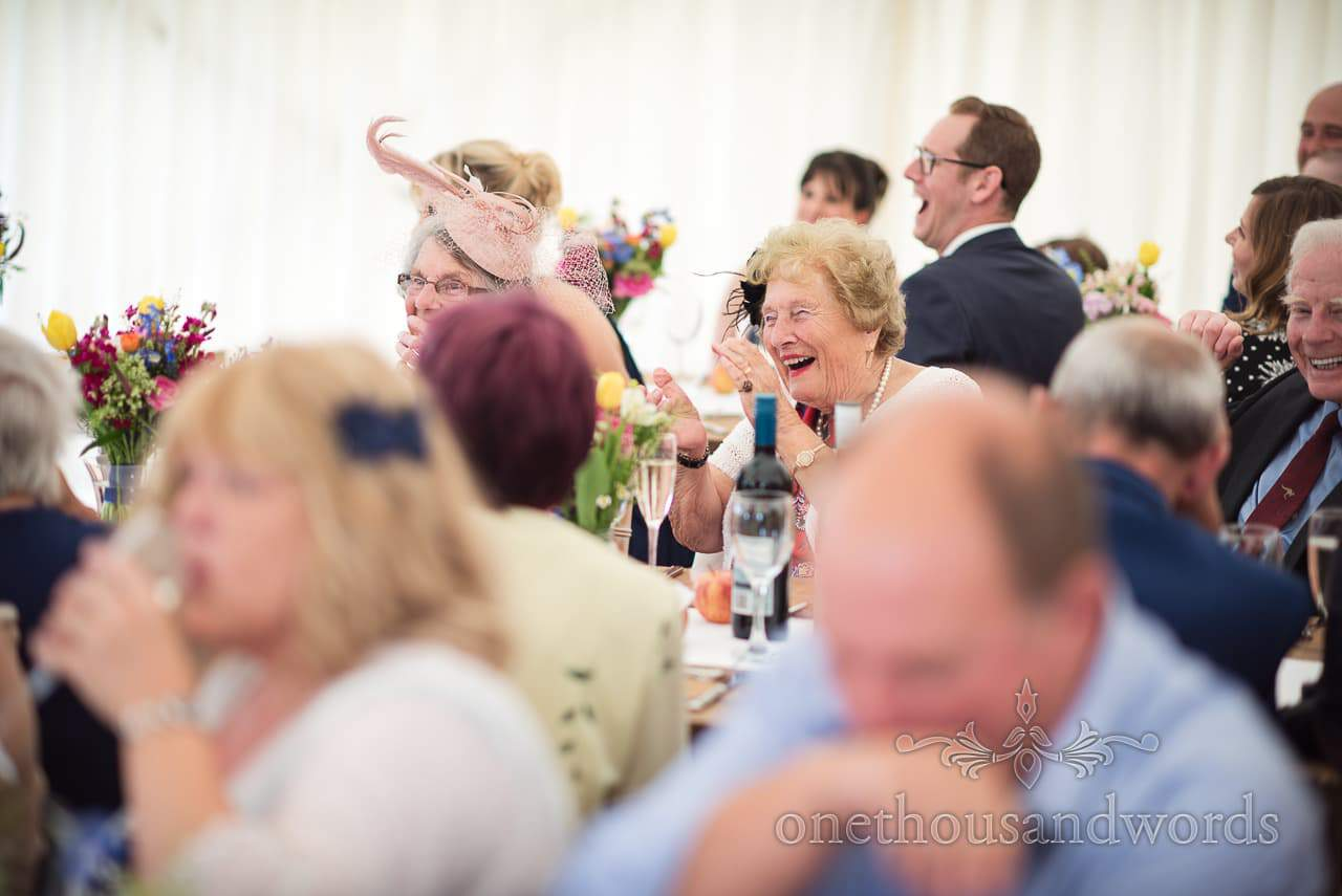 Countryside Wedding Photos of guest reaction during speeches