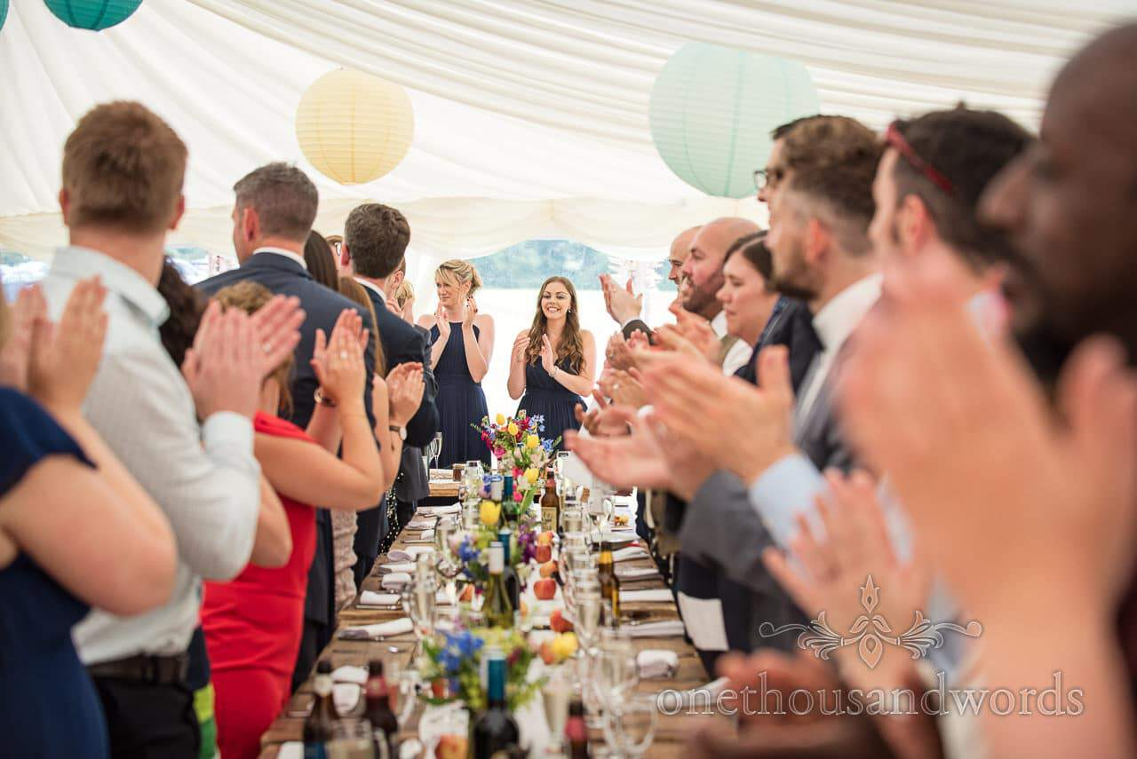 Countryside Wedding Photos of rapturous applause to welcome the newlyweds