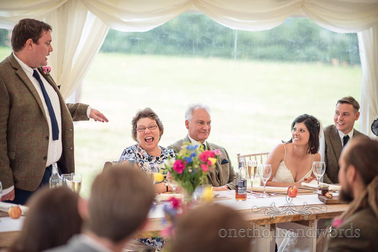 Countryside Wedding Photos of top table reaction during speeches