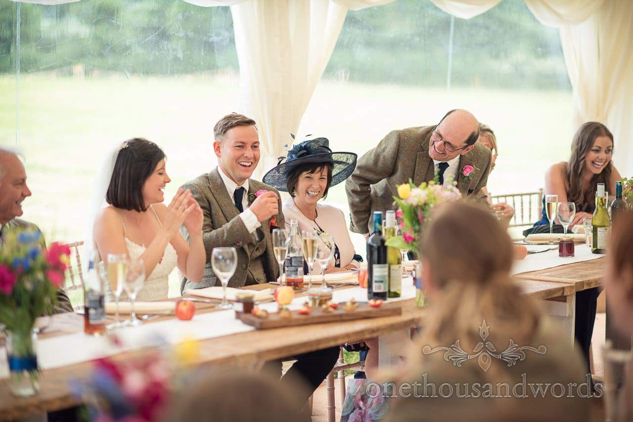 Countryside Wedding Photos of top table reaction to father of the brides speech