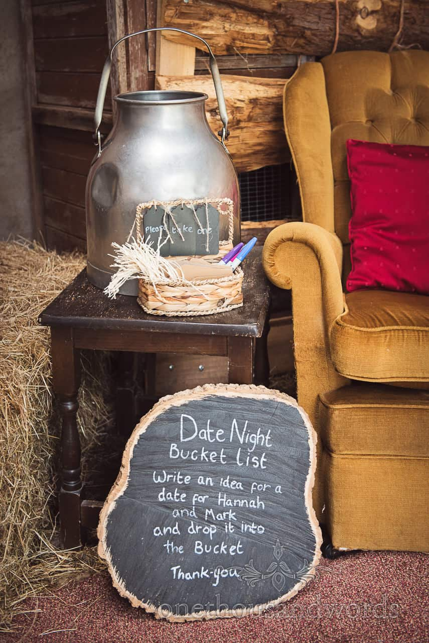 Date night bucket list for guest to sign from Countryside Wedding Photos
