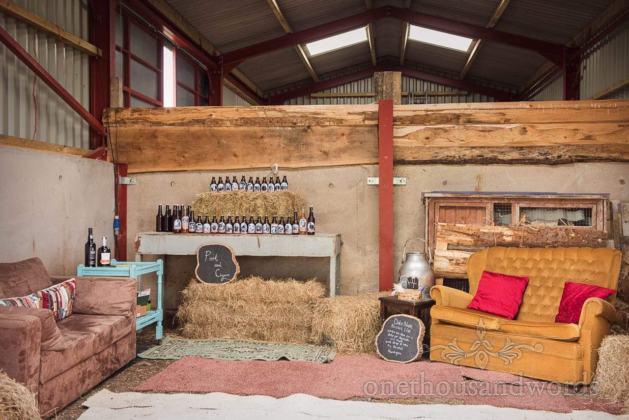 Decorated barn with port, cigars and home brew from Countryside Wedding Photos