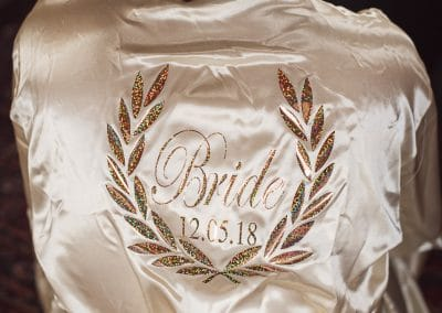 Detailed bridal dressing gown for Chocolate Themed Wedding Photographs
