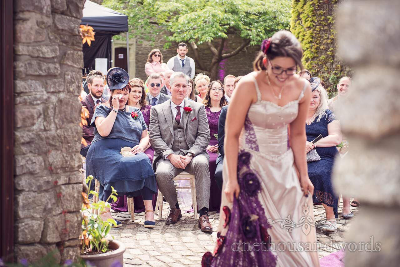 Emotional wedding guests cry during Walton Castle wedding ceremony