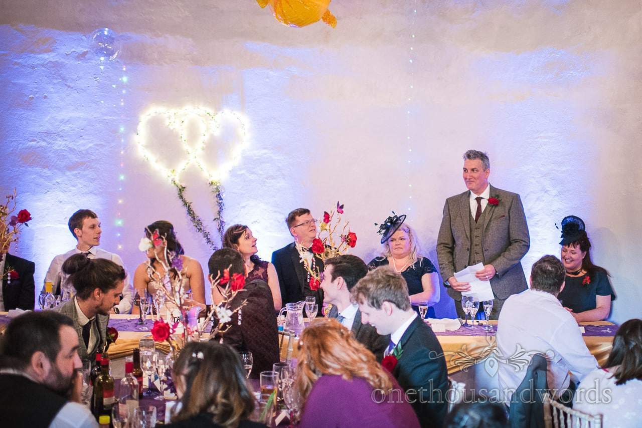 Father of bride gives wedding speech to chocolate themed wedding at Walton Castle