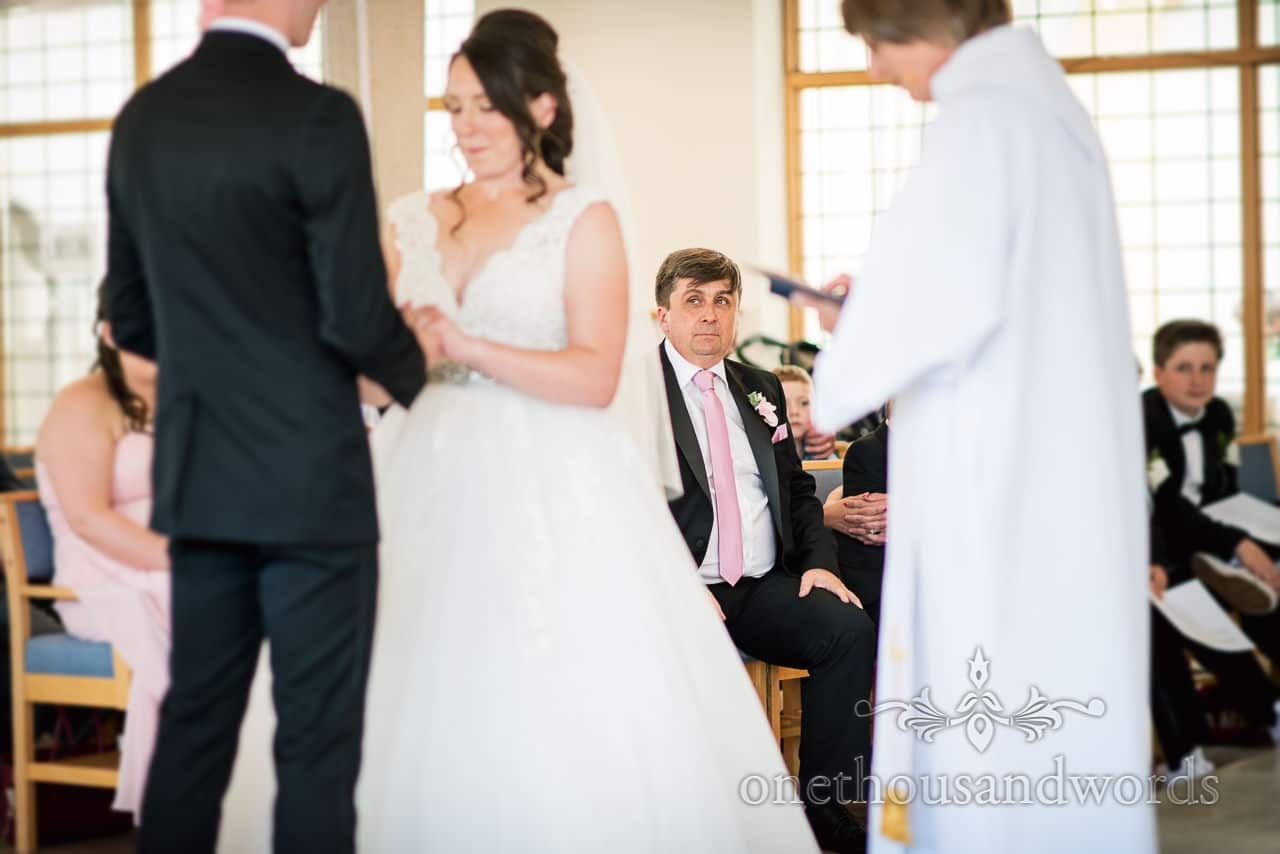 Father of the bride during wedding ceremony from Swanage wedding photos