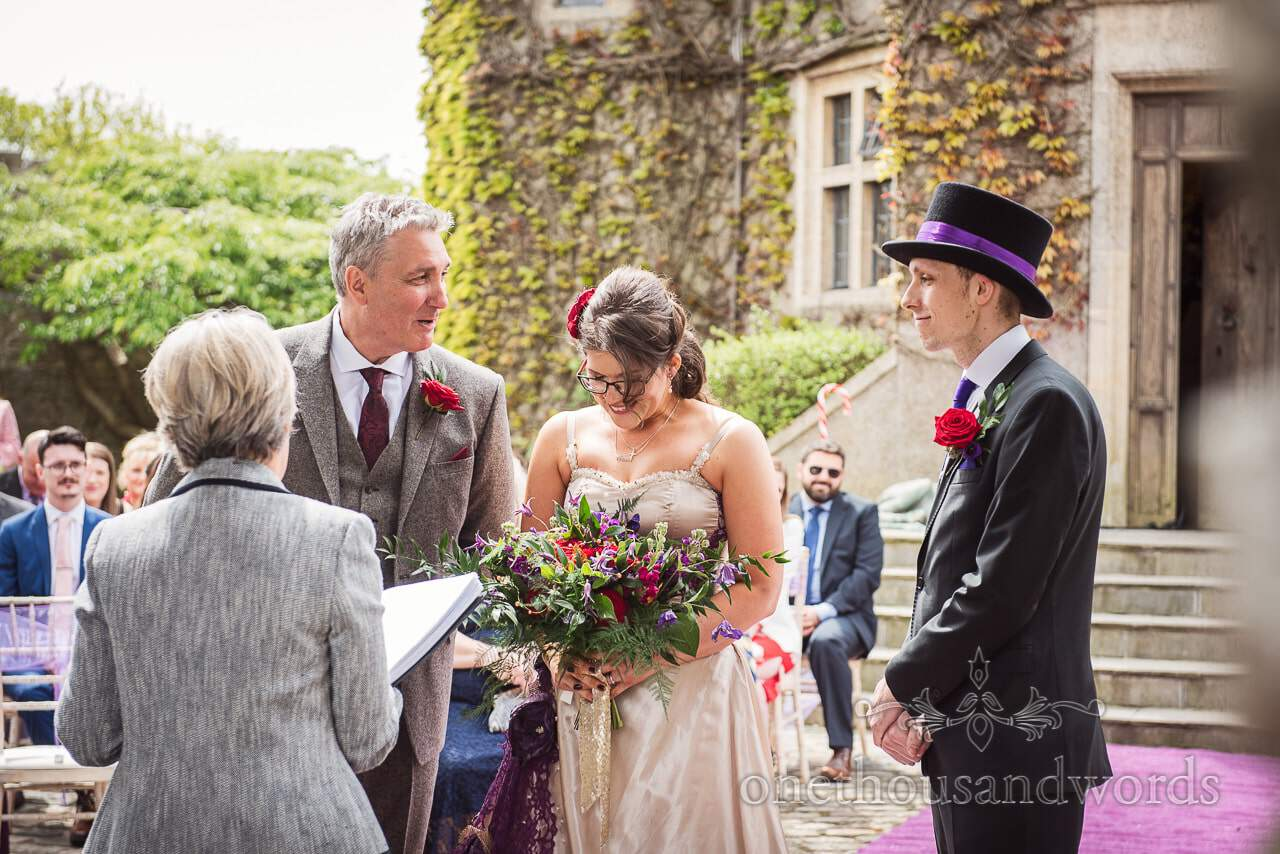 Father of the bride gives away his daughter at Walton Castle wedding ceremony