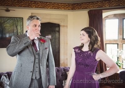 Father of the bride takes a drink on morning of Chocolate Themed Wedding Photographs