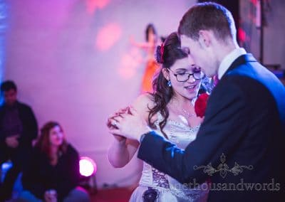 First dance at Chocolate Themed Wedding at Walton Castle, Bristol
