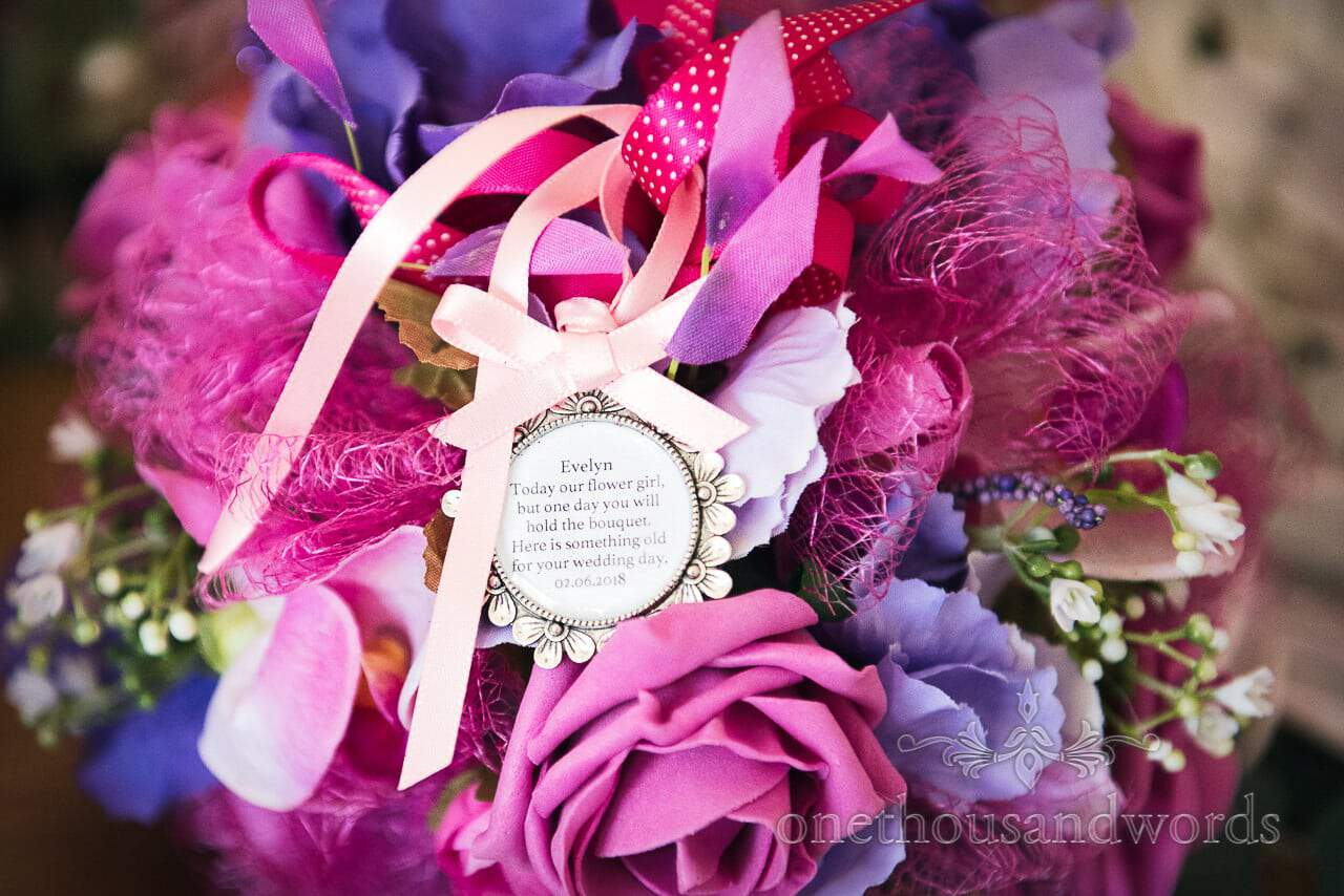 Flower girl message and bouquet from Swanage Wedding Photos