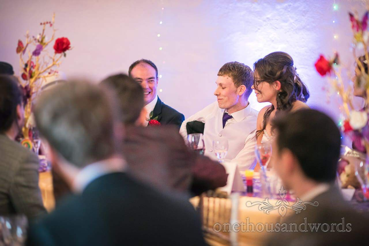 Groom cringes during best man's speech at Chocolate Themed Wedding