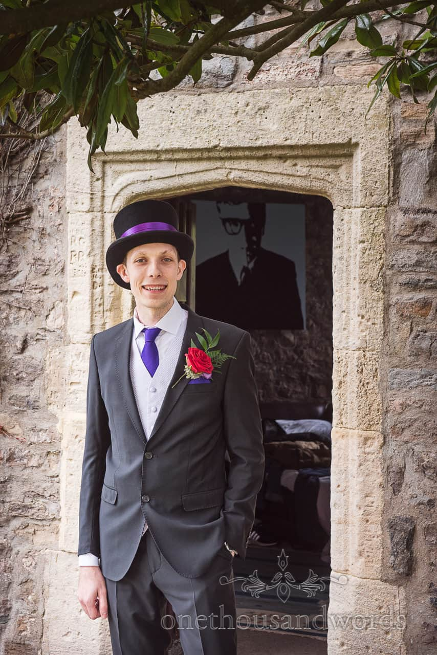 Groom is ready at Walton castle Chocolate Themed Wedding Photographs
