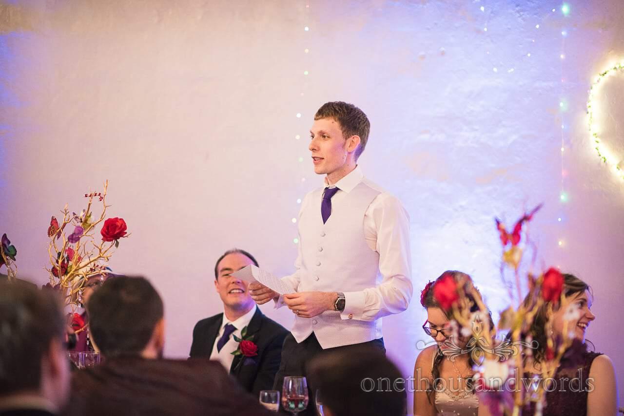 Grooms wedding speech at Walton Castle Chocolate Themed Wedding Photographs