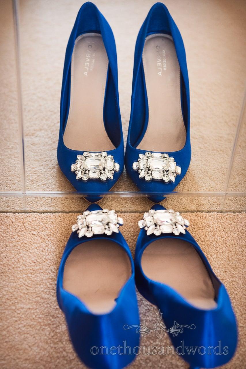Kurt Geiger blue closed toe wedding shoes from Swanage wedding photos
