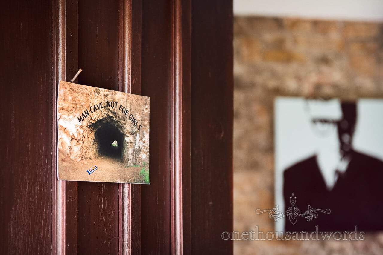 Man cave door notice from Chocolate Themed Wedding Photographs