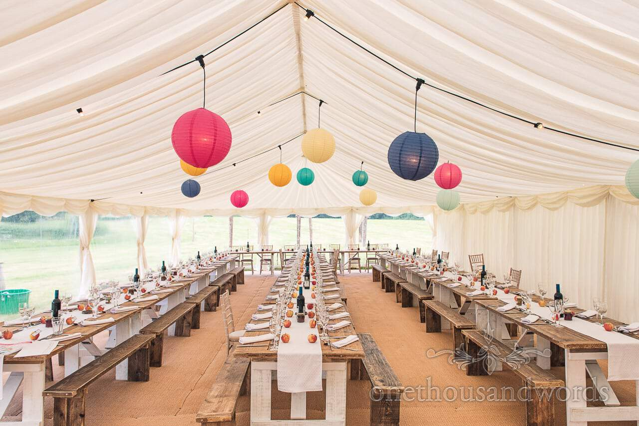 Marquee decorated for wedding breakfast at Countryside Wedding Photos