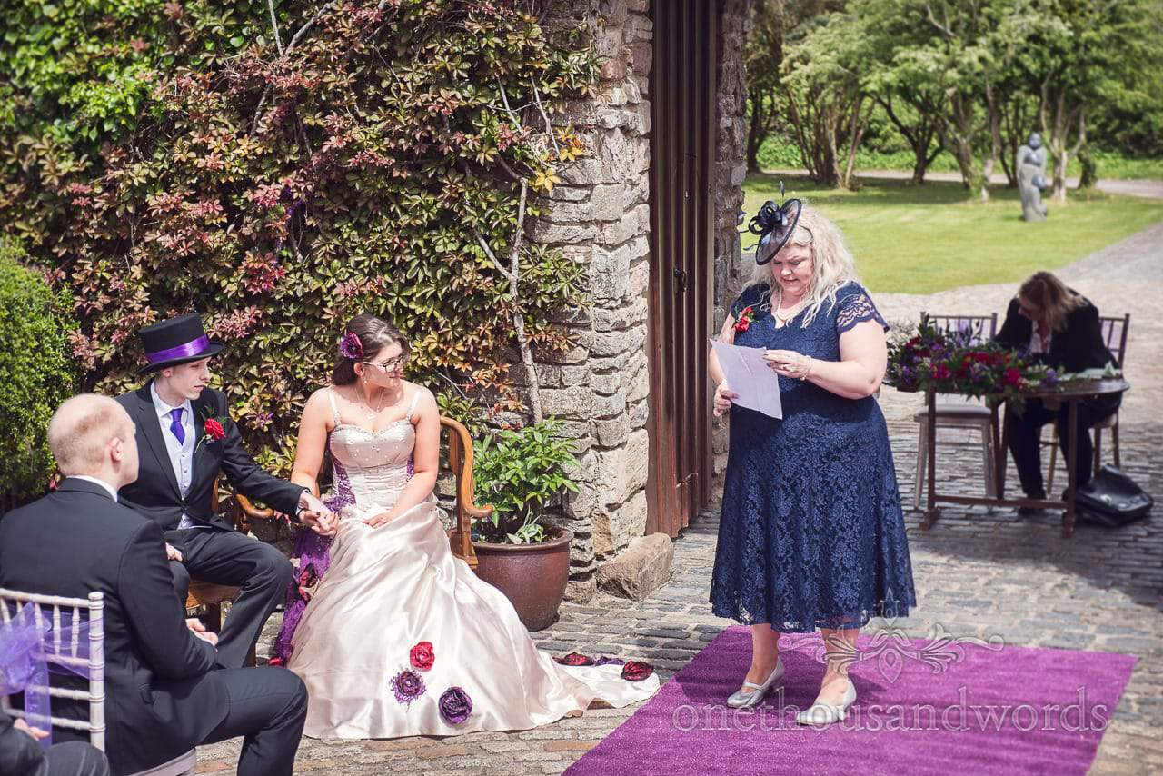 Mother of the bride's reading at Walton castle wedding in Bristol