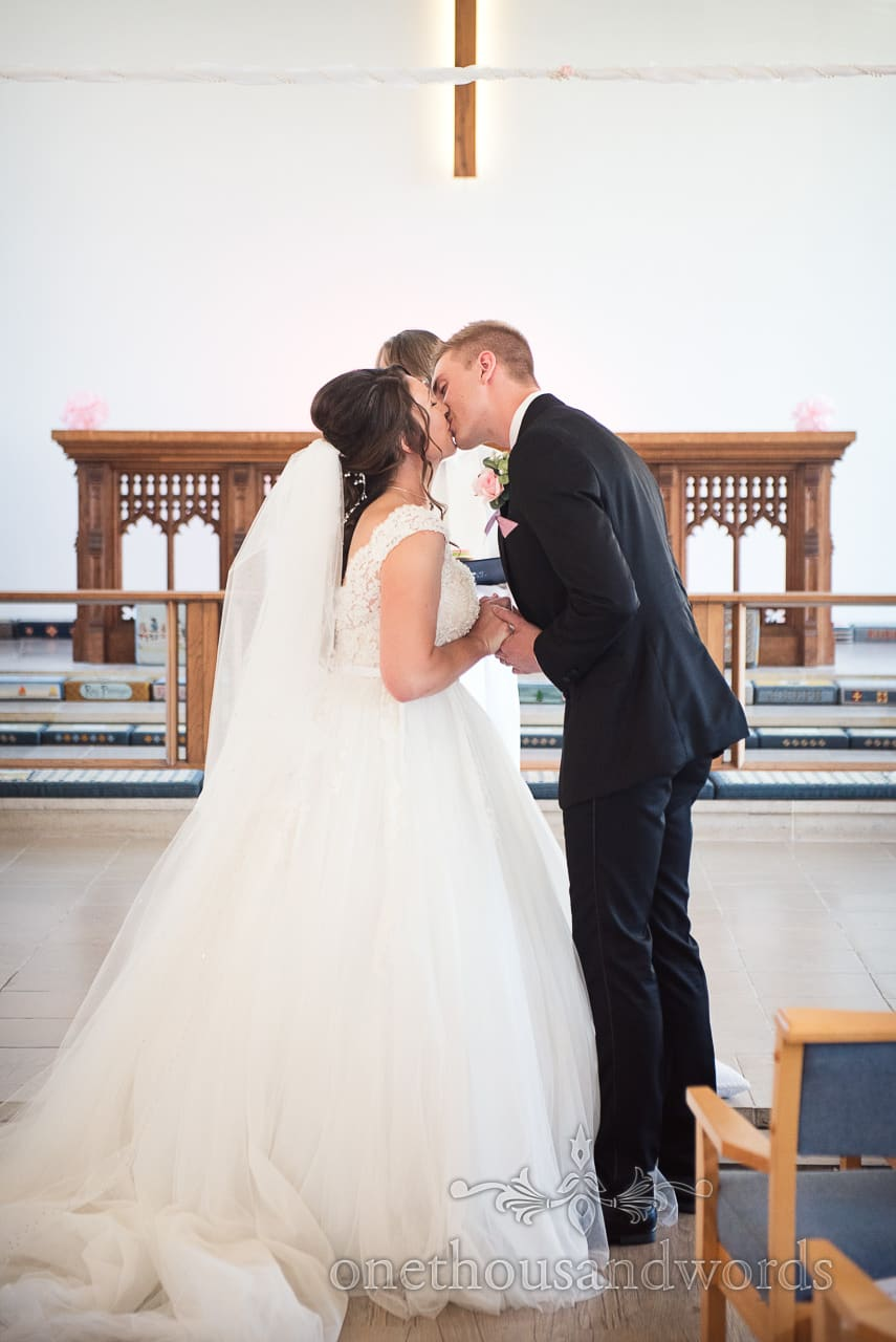 New Mr and Mrs first kiss from Swanage wedding photos