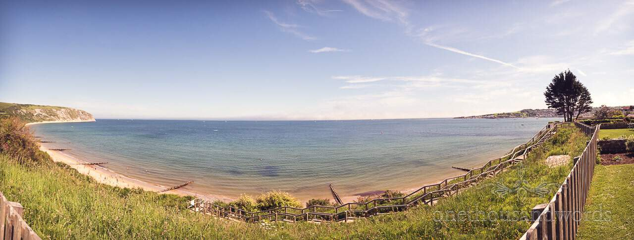 Panoramic view from cliff top hotel garden from Swanage wedding photos