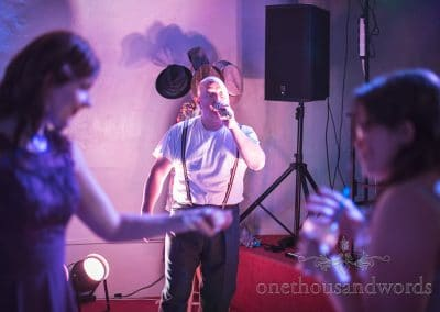 Phil Collins act sings at Chocolate Themed Wedding at Walton Castle